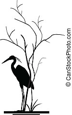 heron and tree silhouette - vector illustration of heron and...
