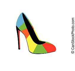 Vector illustration of high-heeled colorful shoes.