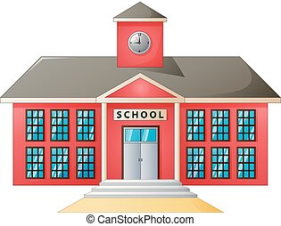 High school modern building - Vector illustration of High...