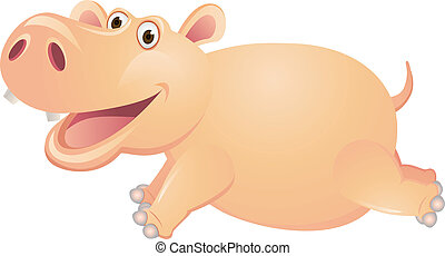 Hippo Runing Cartoon