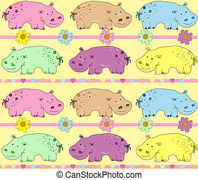 Vector illustration of hippos backg