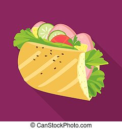 Isolated object of hoagie and burger logo. Graphic of hoagie and bun vector icon for stock.