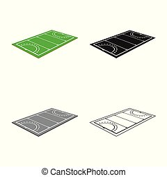 Vector illustration of hockey and field sign. Set of hockey and playing stock symbol for web.