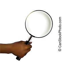 holding a magnifying glass