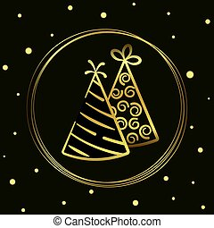 Vector illustration of holiday caps in a circle hand-drawn. vector icon gold line isolated on black background for design, print
