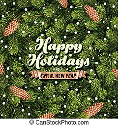 Holiday card a pine branches - Vector illustration of ...