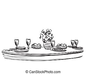 Vector illustration of holiday dinner with flowers