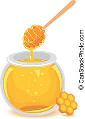 Honey in Glass Jar with Honeycomb - Vector Illustration of...