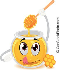 Honey Jar Mascot holding a Wooden Dipper Stick - Vector...