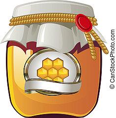 Honey jar - Vector illustration of Honey jar over white. EPS...
