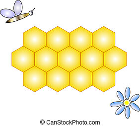 honeycomb, bee & flower