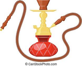 Vector illustration of hookah on white background. Cartoon...