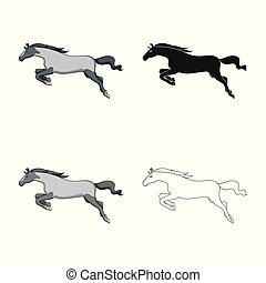 Vector illustration of horse and gallop logo. Set of horse and hoofed stock symbol for web.