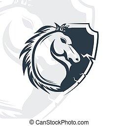 Horse head mascot logo design