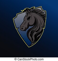 Horse head with shield logo design