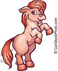 Vector illustration of horse in cartoon style