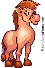 Vector illustration of horse in cartoon style