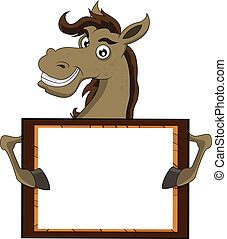 horse with blank sign