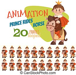 Vector illustration of horse with prince in flat style