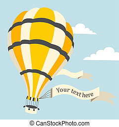 Vector illustration of hot air balloon on the sky - Vector...