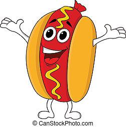 Vector Illustration Of Hot dog cartoon character