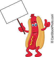 Hot dog cartoon character with blan - vector illustration of...