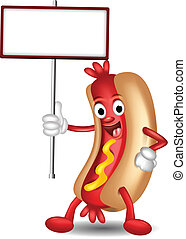 hot dog cartoon holding blank sign