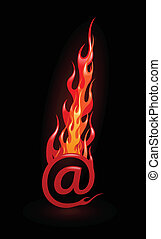 Vector illustration of hot e-mail