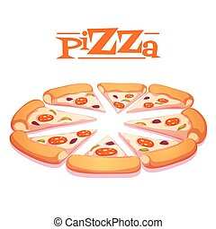 Vector illustration of hot pizza on white background