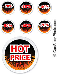 Hot price stickers. with fire flame