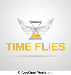 Vector illustration of hourglass with wings. Time flies.