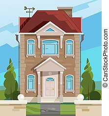 Vector illustration of house. English house facade. Colorful Flat Residential House. Illustration of a cartoon house in spring or summer season, with backyard garden and fence.