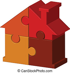 house from puzzles - Vector illustration of house from...