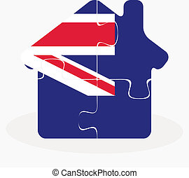 house home icon with Australia flag in puzzle