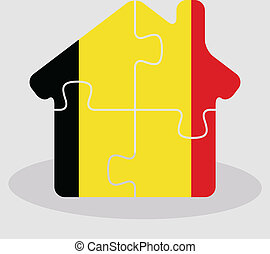 house home icon with Belgian flag in puzzle isolated on white ba