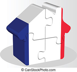 house home icon with French flag in puzzle