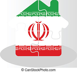 house home icon with Iranian flag in puzzle