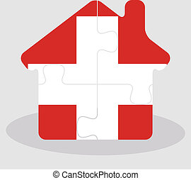 house home icon with Swiss flag in puzzle