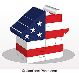 house home icon with USA flag in puzzle - Vector...
