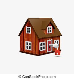 House with key and red house trinket in keyhole - Vector...