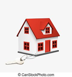 House with silver key - Vector illustration of House with...