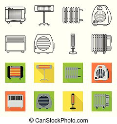 Vector illustration of household and appliances icon. Collection of household and appliance stock symbol for web.