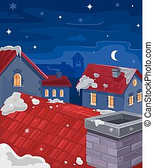 Vector illustration of houses at night