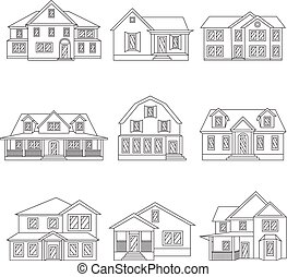 Vector illustration of houses icon black line set