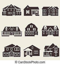 Vector illustration of houses icon black set