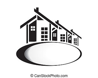 Vector illustration of houses on white background