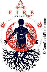 Vector illustration of human being created with tree roots. Human and nature harmony, fire man covered with a fireball.