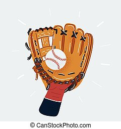 Vector illustration of human hand in Baseball glove and ball isolated on white background.
