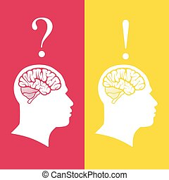 vector illustration of human heads with brain. problem and solution concept