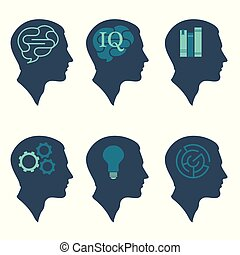human profile head concept, with brain, bulb, book, labyrinth and gear icon